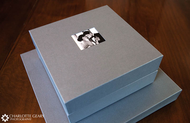 Wedding albums in silver boxes