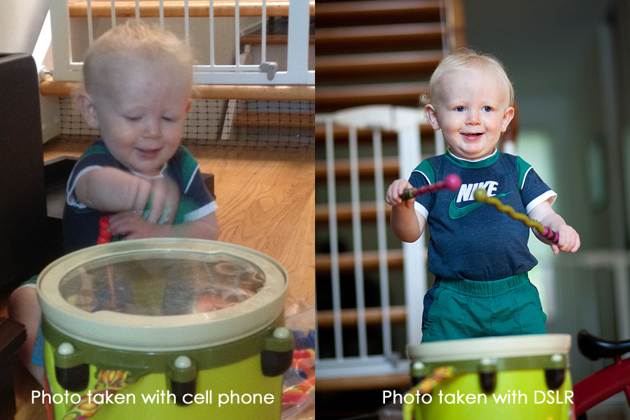 Comparison of photos taken with a cell phone and a DSLR