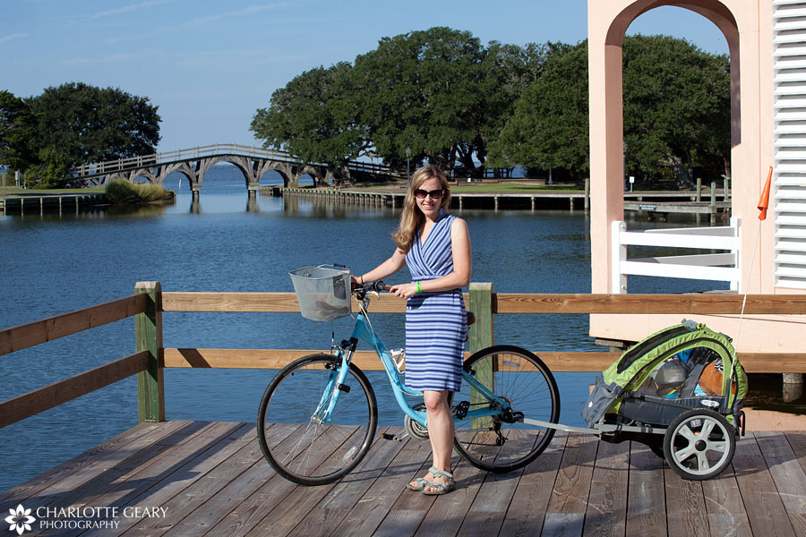 Charlotte Geary with bike in Corolla, NC