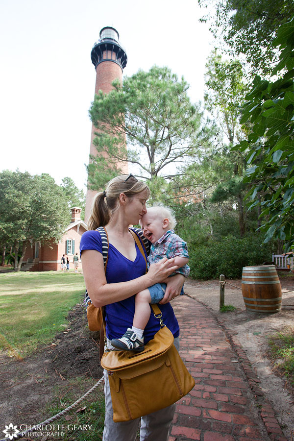 Charlotte Geary with son at the Currituck Lighthouse in Corolla, NC