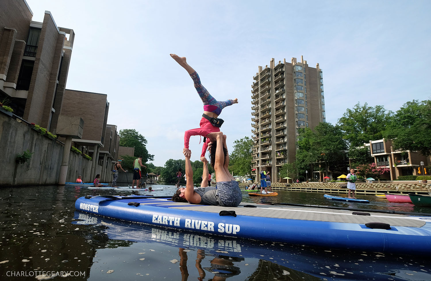 Acro yoga on paddleboards