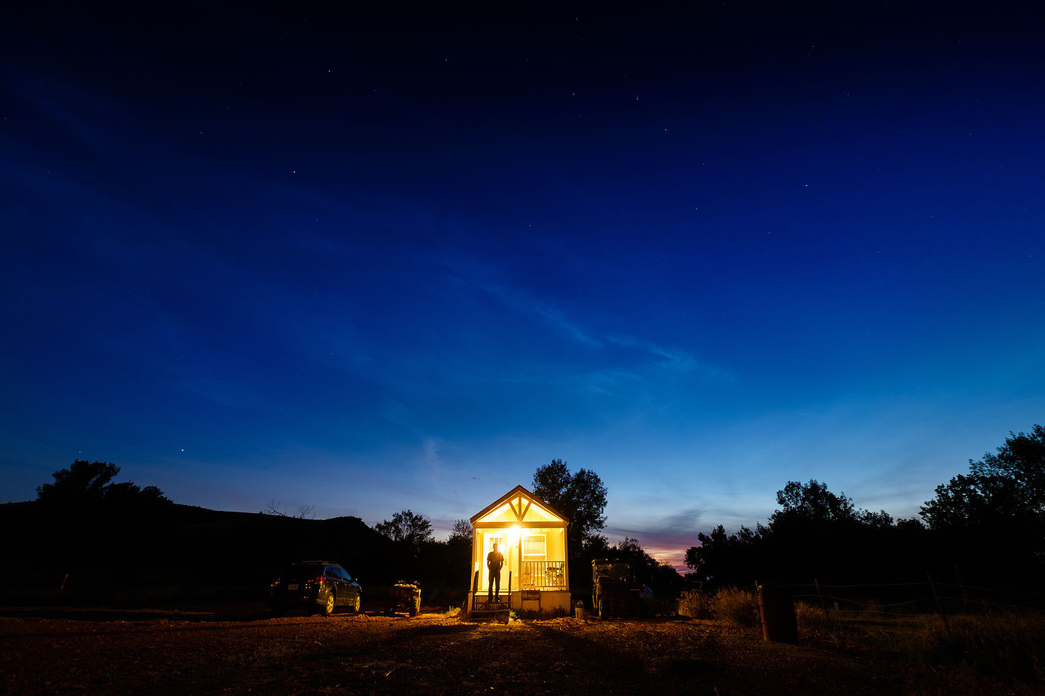The Big Dipper over a tiny house