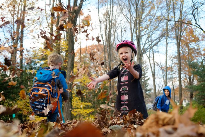 Documentary family photography of kids in fall leaves