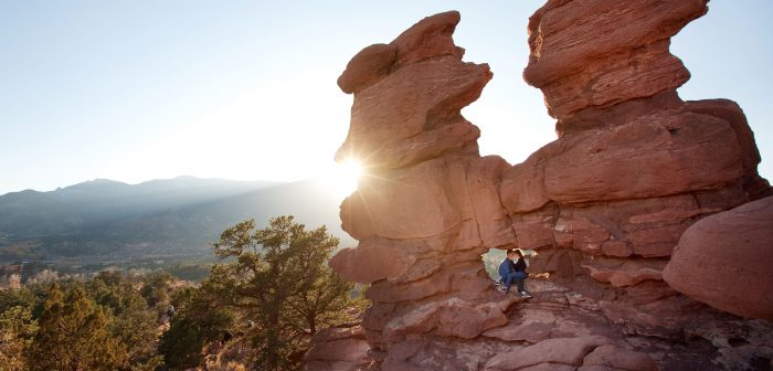 Engagement portrait at sunset in the Garden of the Gods
