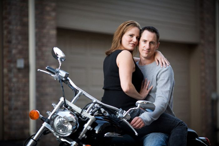Engagement portrait with motorcycle