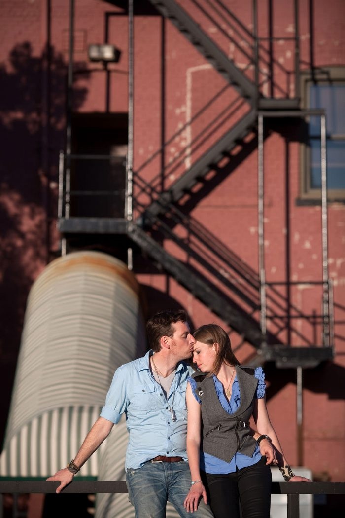 Engagement portrait in a city urban area