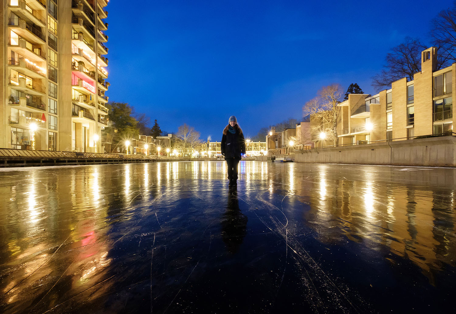 Lake Anne Plaza covered in ice