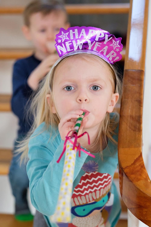 Little girl celebrating New Years Eve