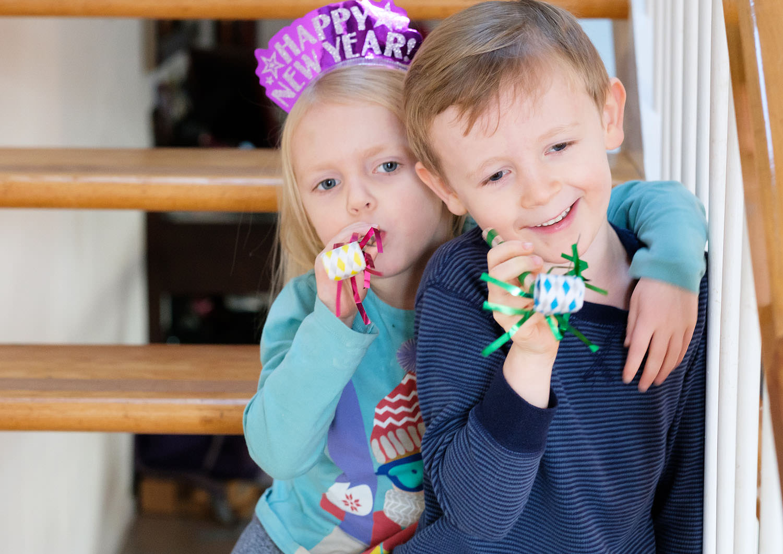 Kids celebrating New Years Day