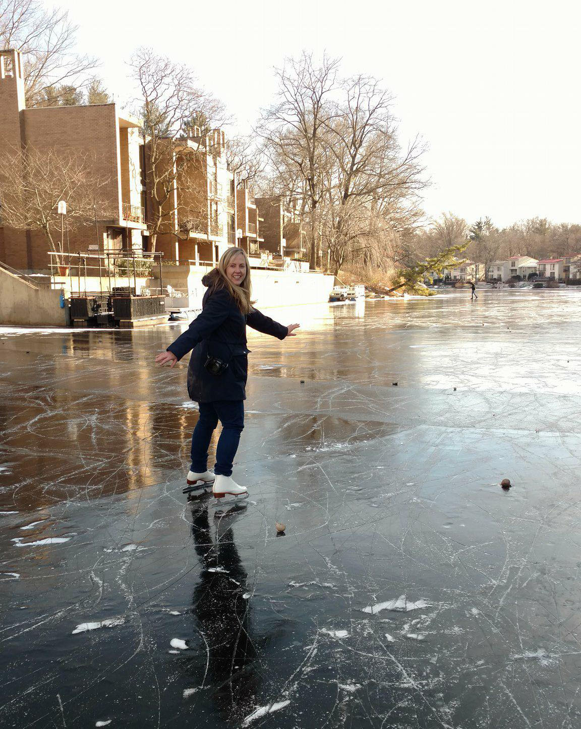 Ice skating on Lake Anne in Reston, Virginia