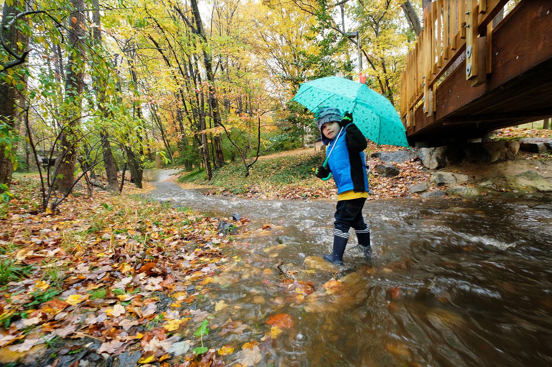 Boy playing in a stream