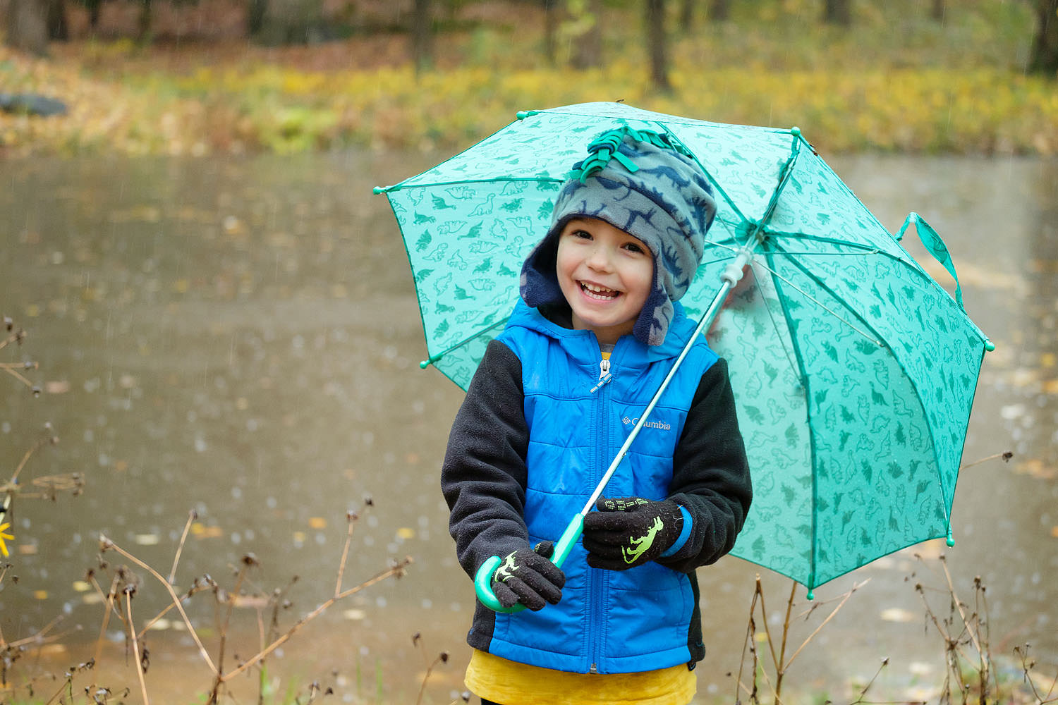 Child with umbrella in the rain