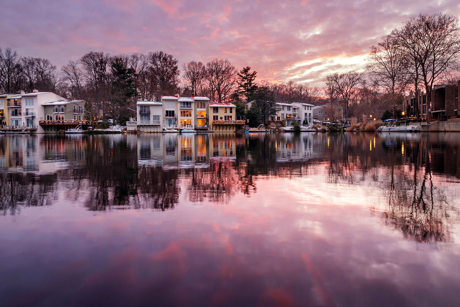 Winter sunset at Lake Anne in Reston, Virginia