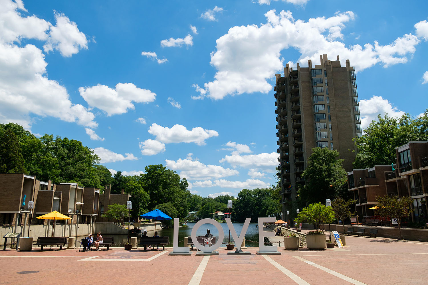 The LOVE sign at Lake Anne Plaza in Reston, Virginia