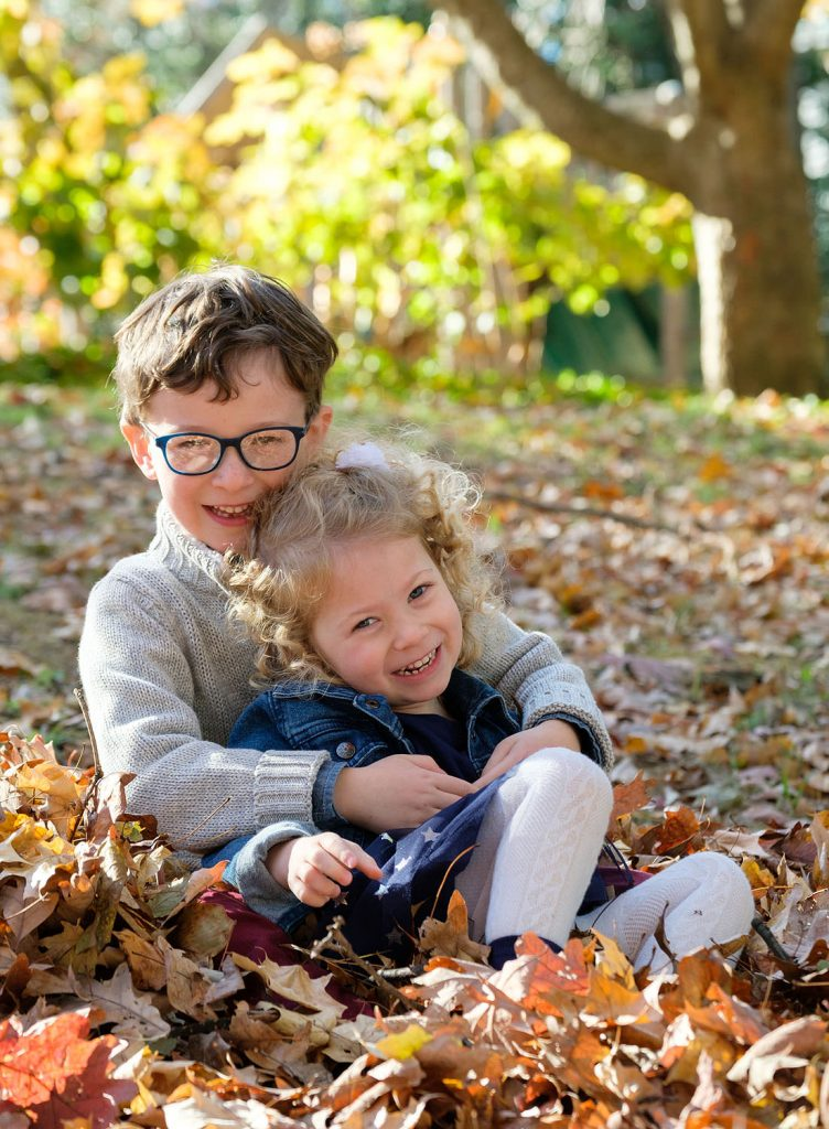 Fall childrens portraits at Lake Anne in Reston, Virginia