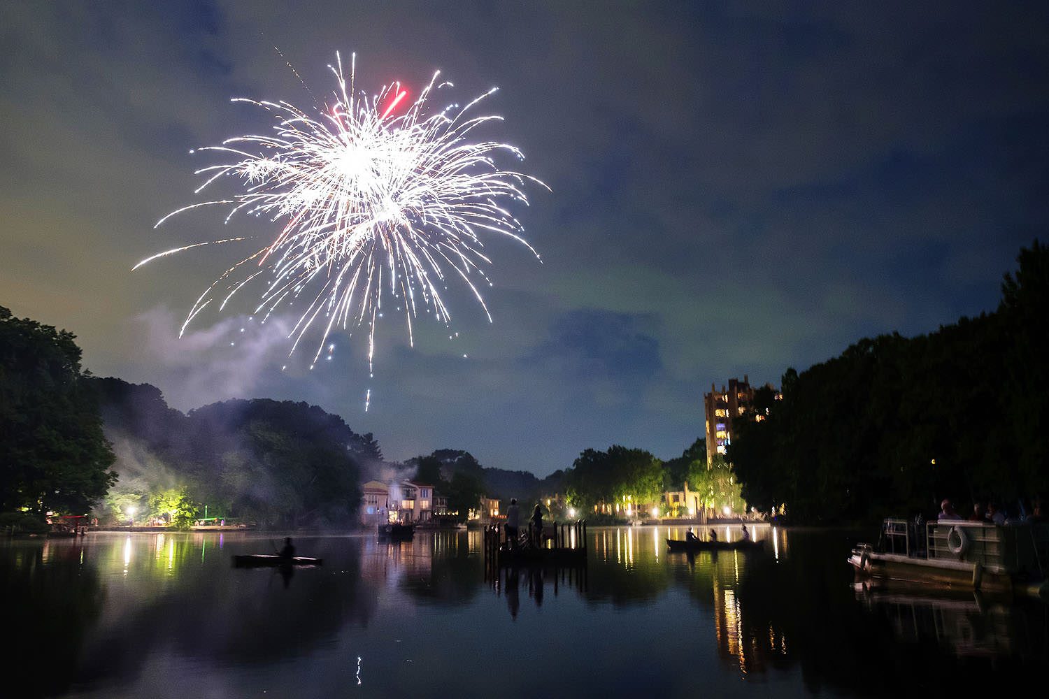 Fourth of July fireworks over Lake Anne Plaza in Reston, Virginia
