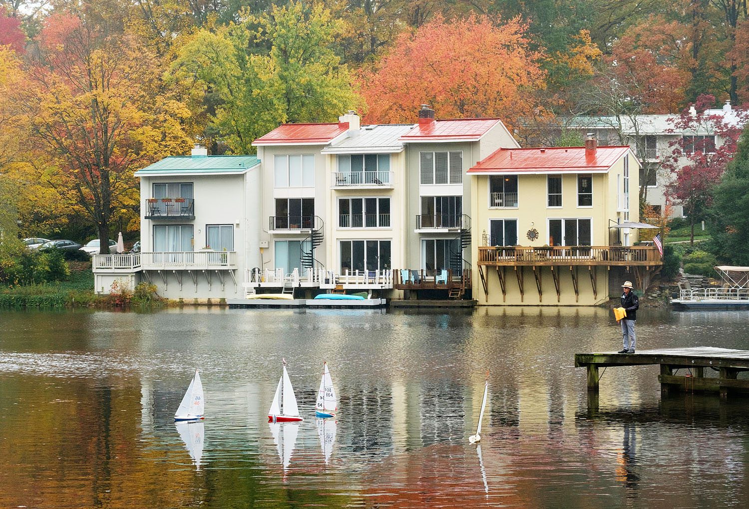 Remote controlled sailboats at Lake Anne in Reston, Northern Virginia