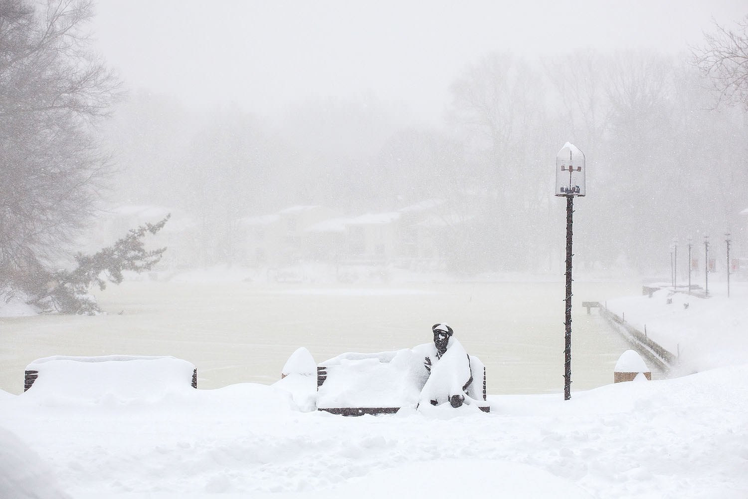 Lake Anne Plaza during the blizzard of 2016
