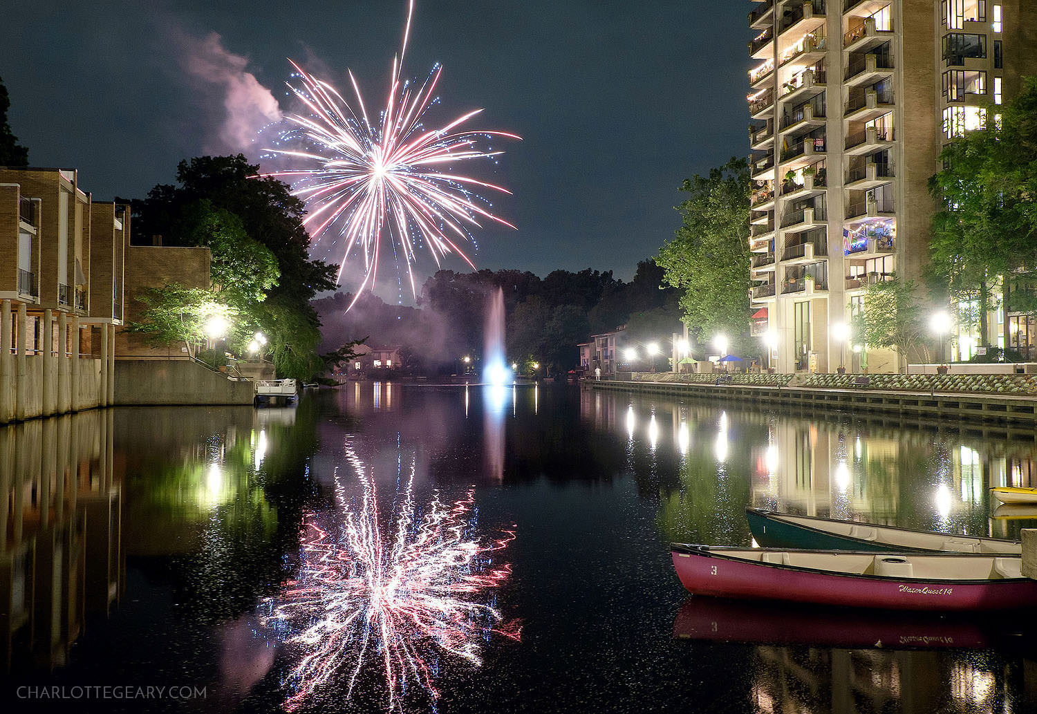 Fourth of July fireworks in Reston at Lake Anne