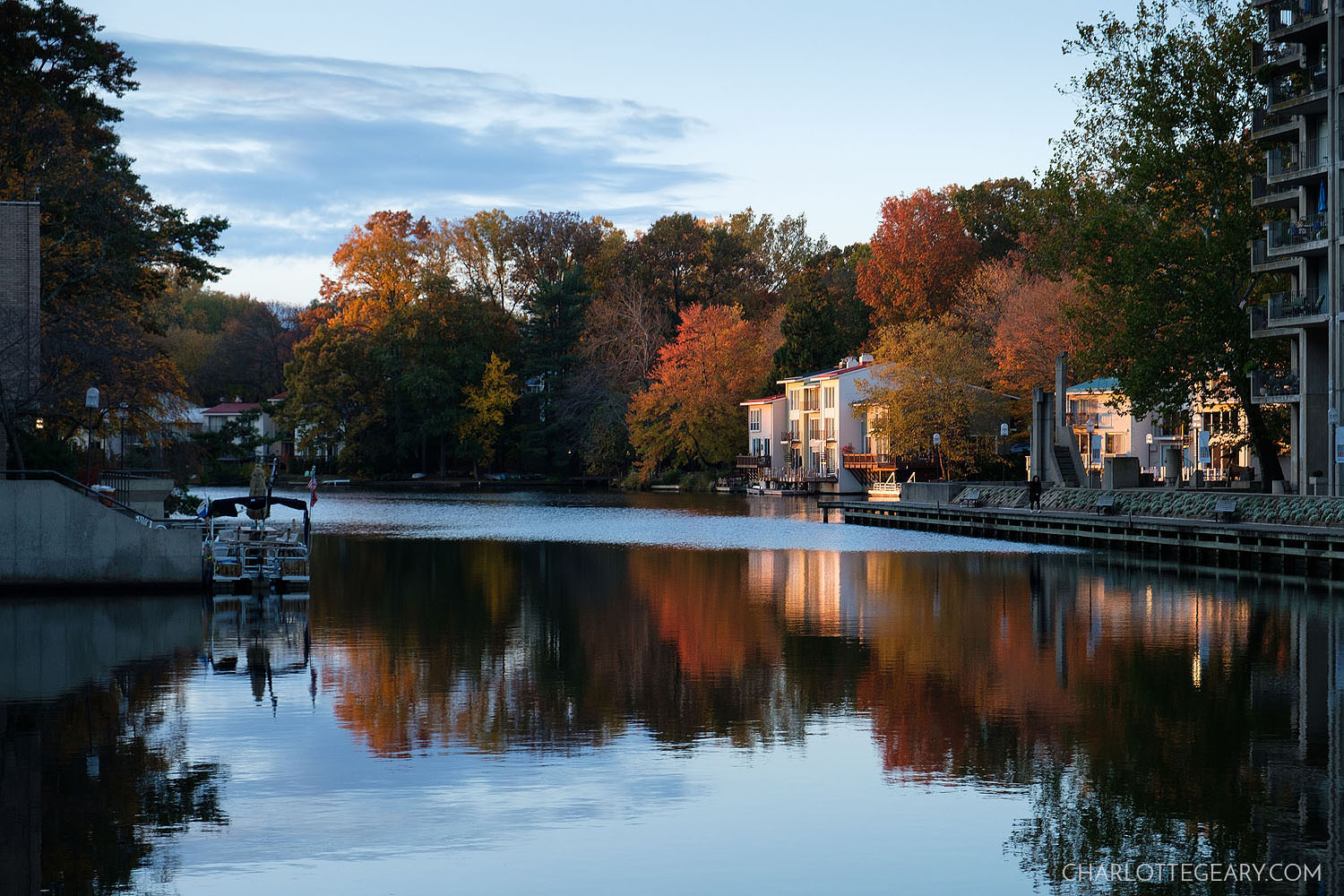 Sunrise as seen from Lake Anne Plaza in Reston
