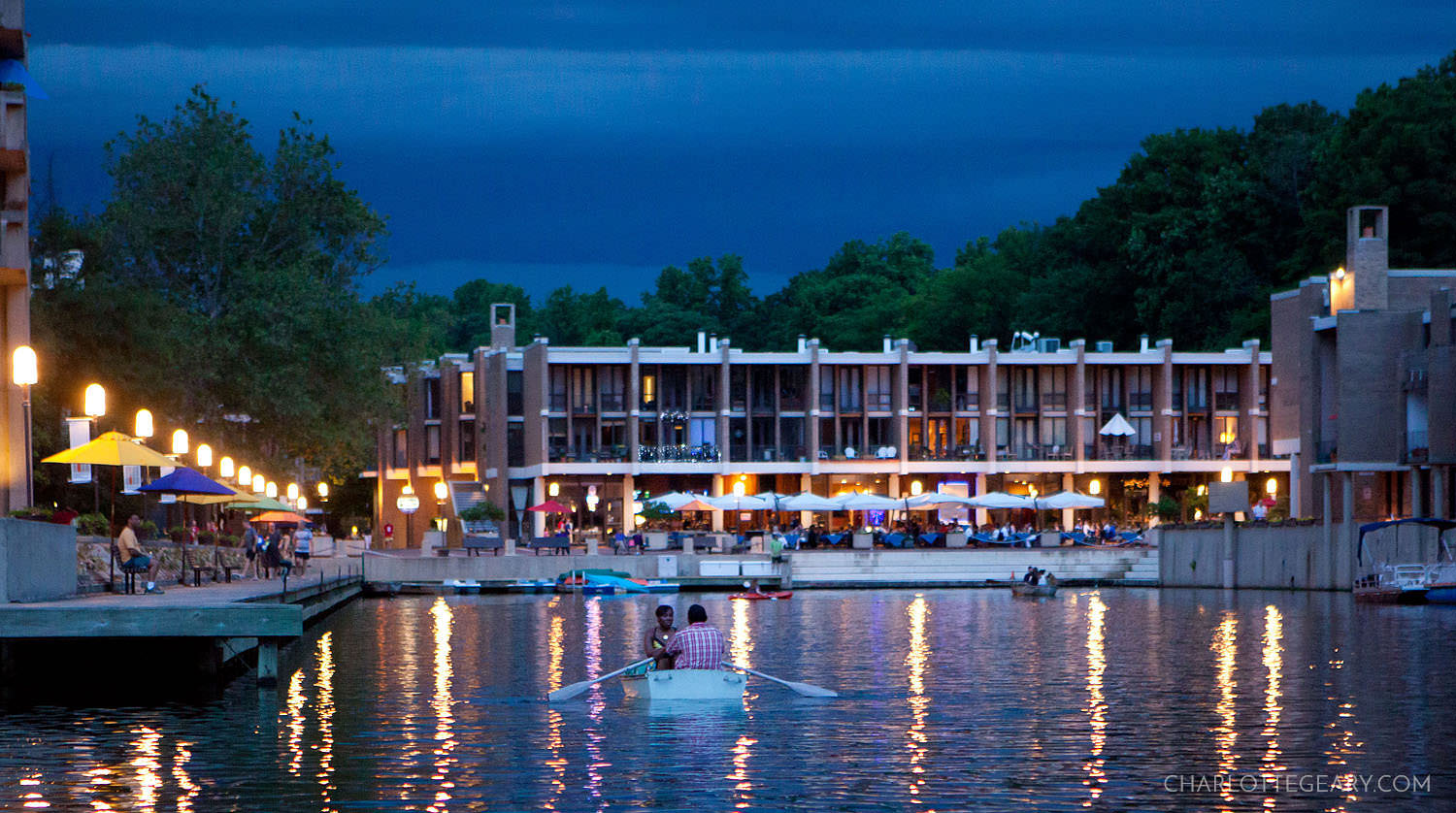 Summer night at Lake Anne Plaza in Reston, Virginia