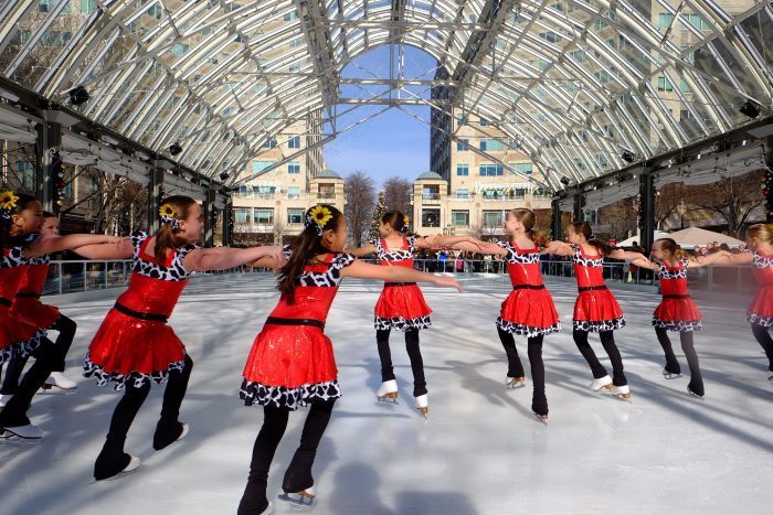 Figure skaters at Reston Town Center ice rink