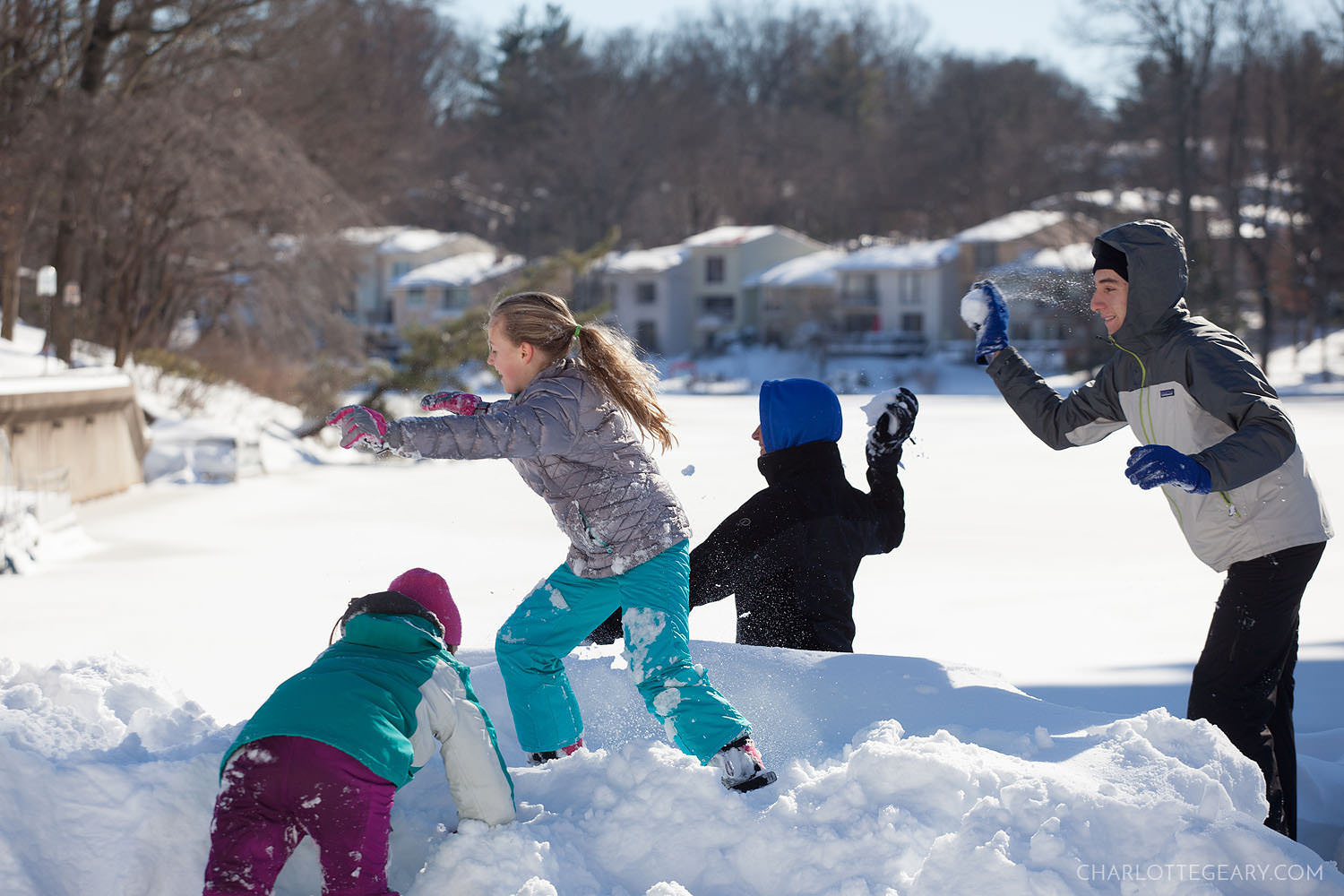 Snowball fight at Lake Anne Plaza in Reston