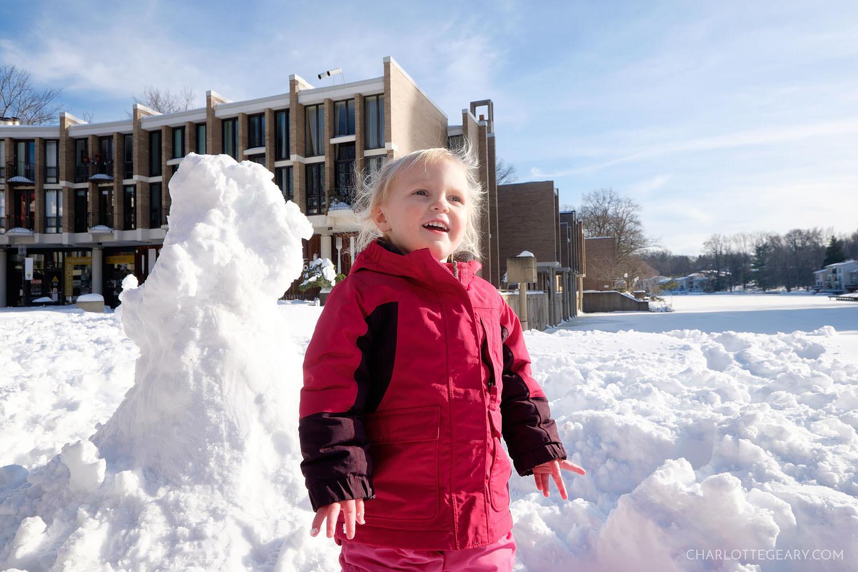 Snowman on Lake Anne Plaza