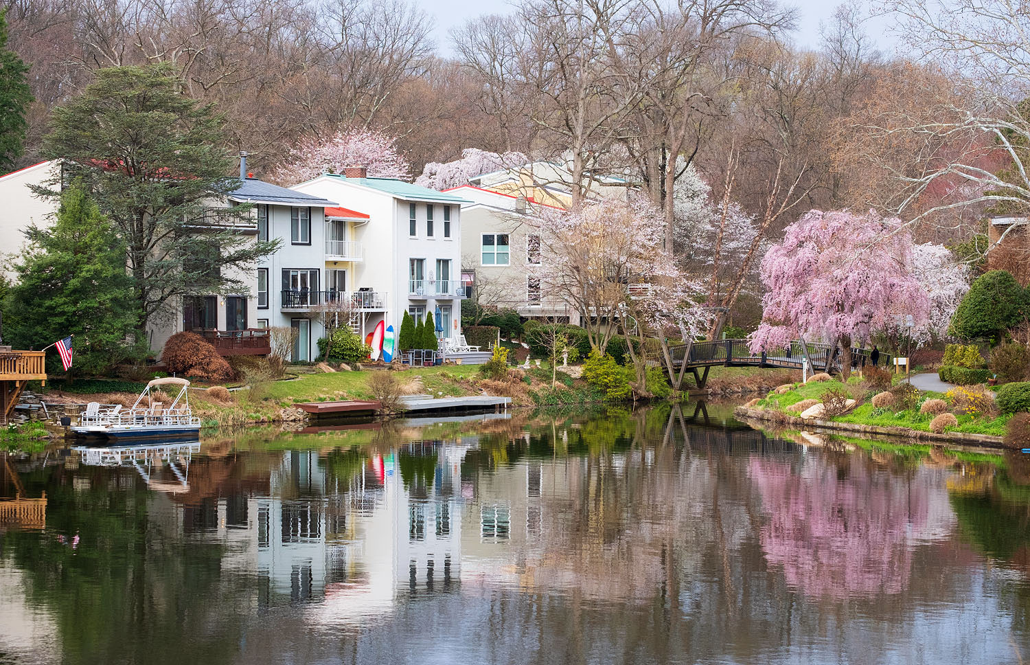 Lake Anne in the springtime in Reston, Virginia