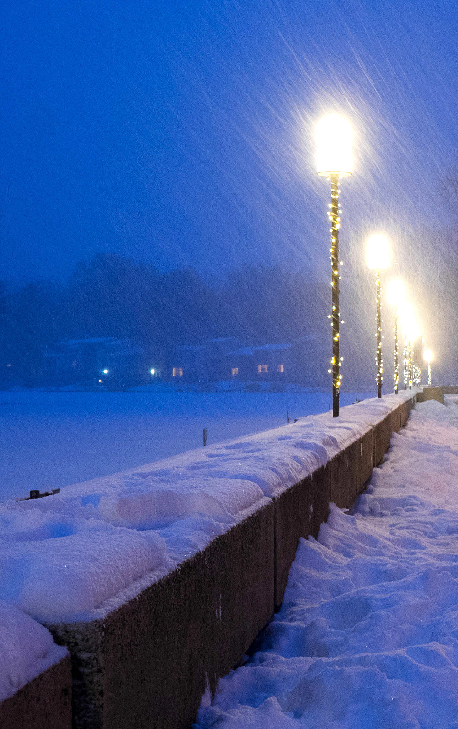Lake Anne Plaza on a snowy night