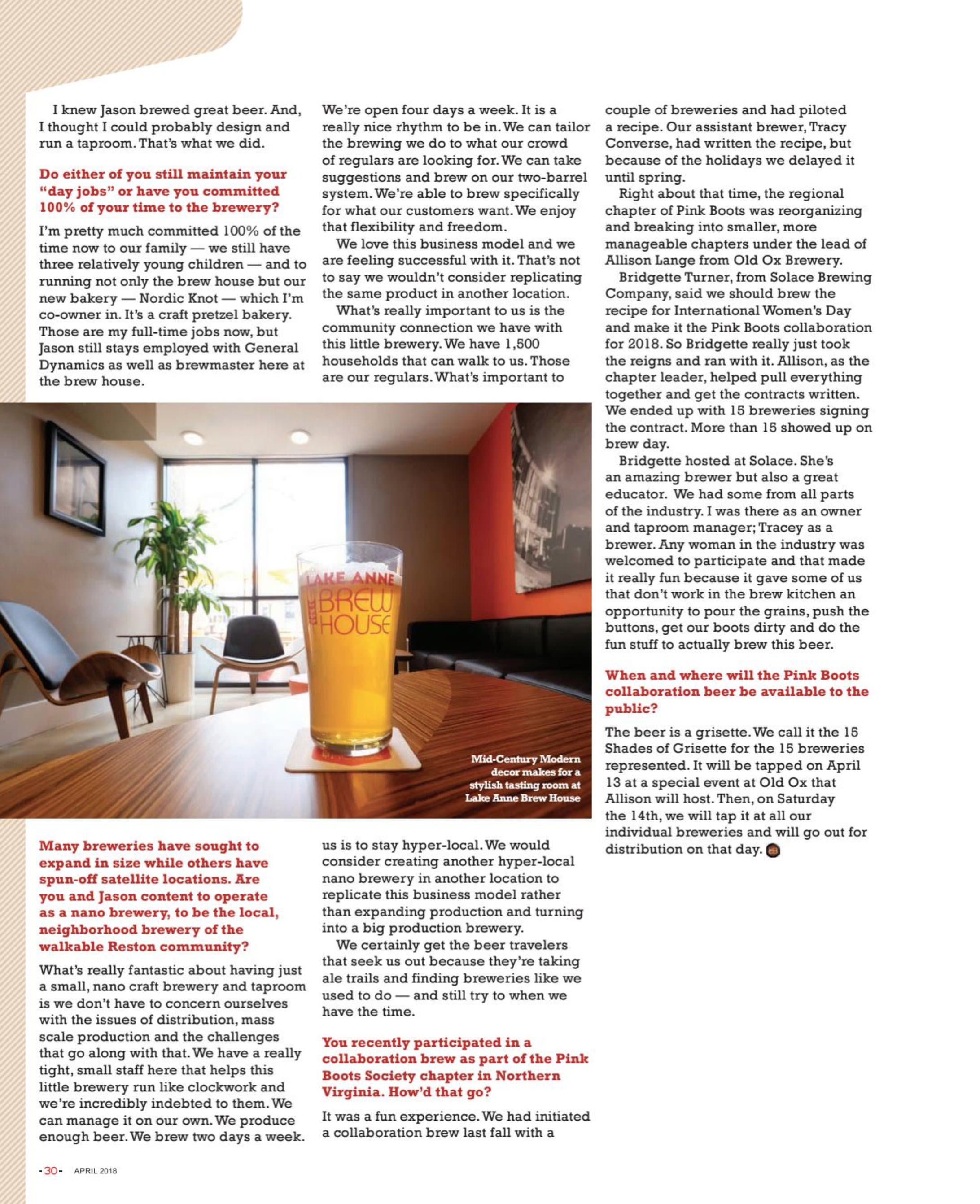 Article about the Lake Anne Brew House in the April/May 2018 issue of Virginia Craft Beer