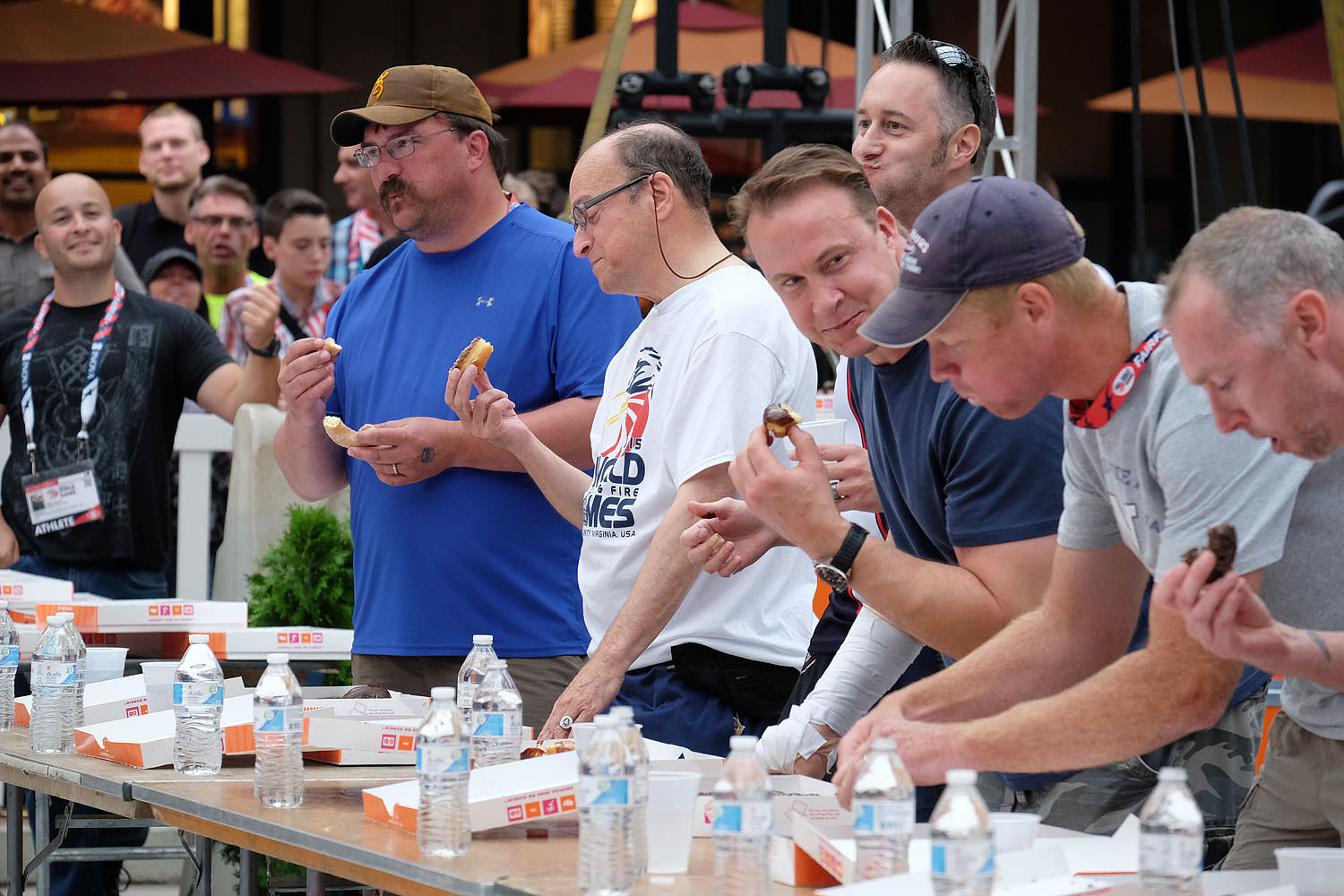 Donut eating contest at the World Police and Fire Games Athlete's Village