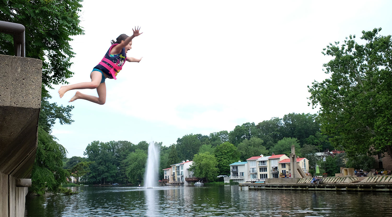 Jumping into Lake Anne