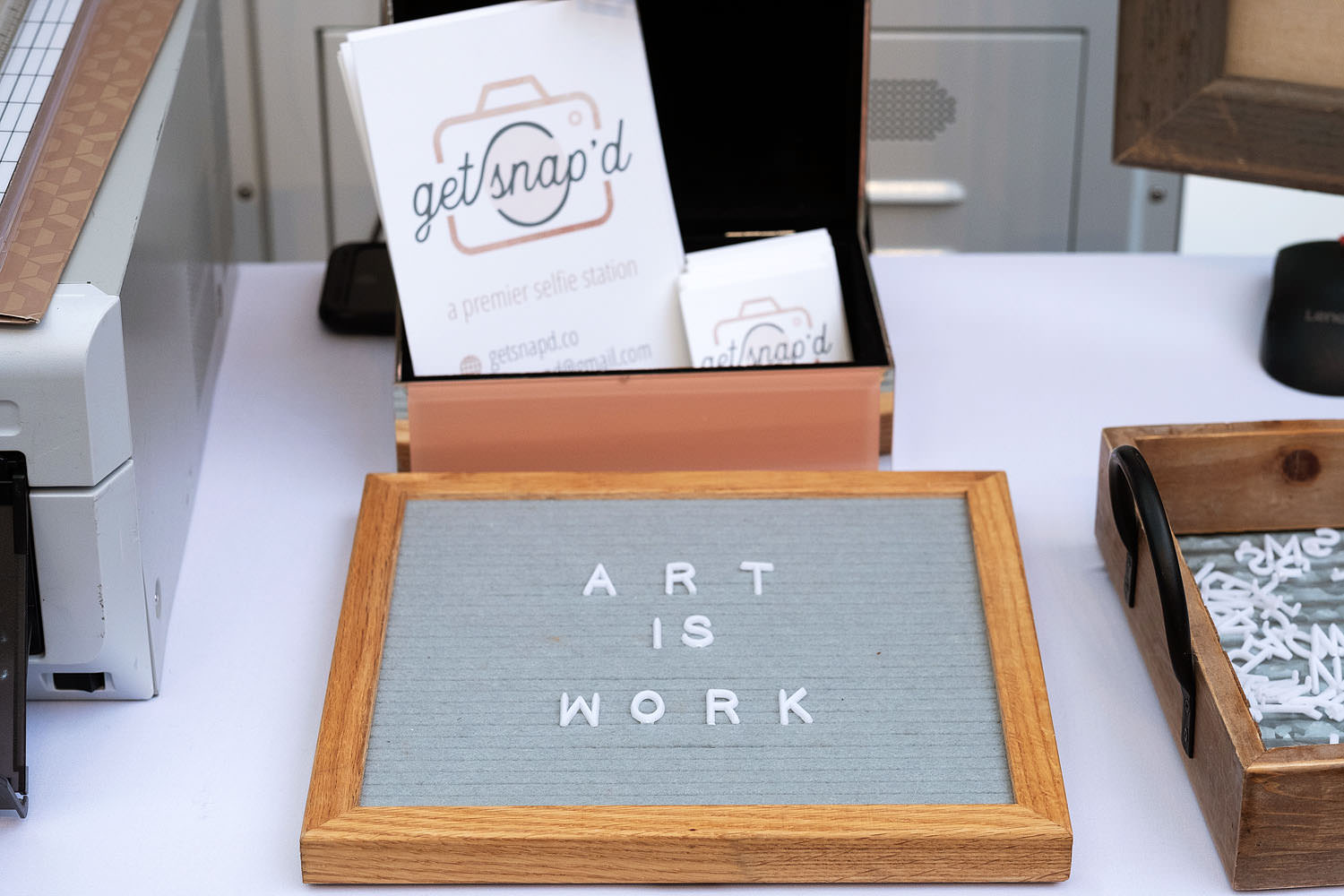 Art Is Work sign at the Northern Virginia Fine Arts Festival party