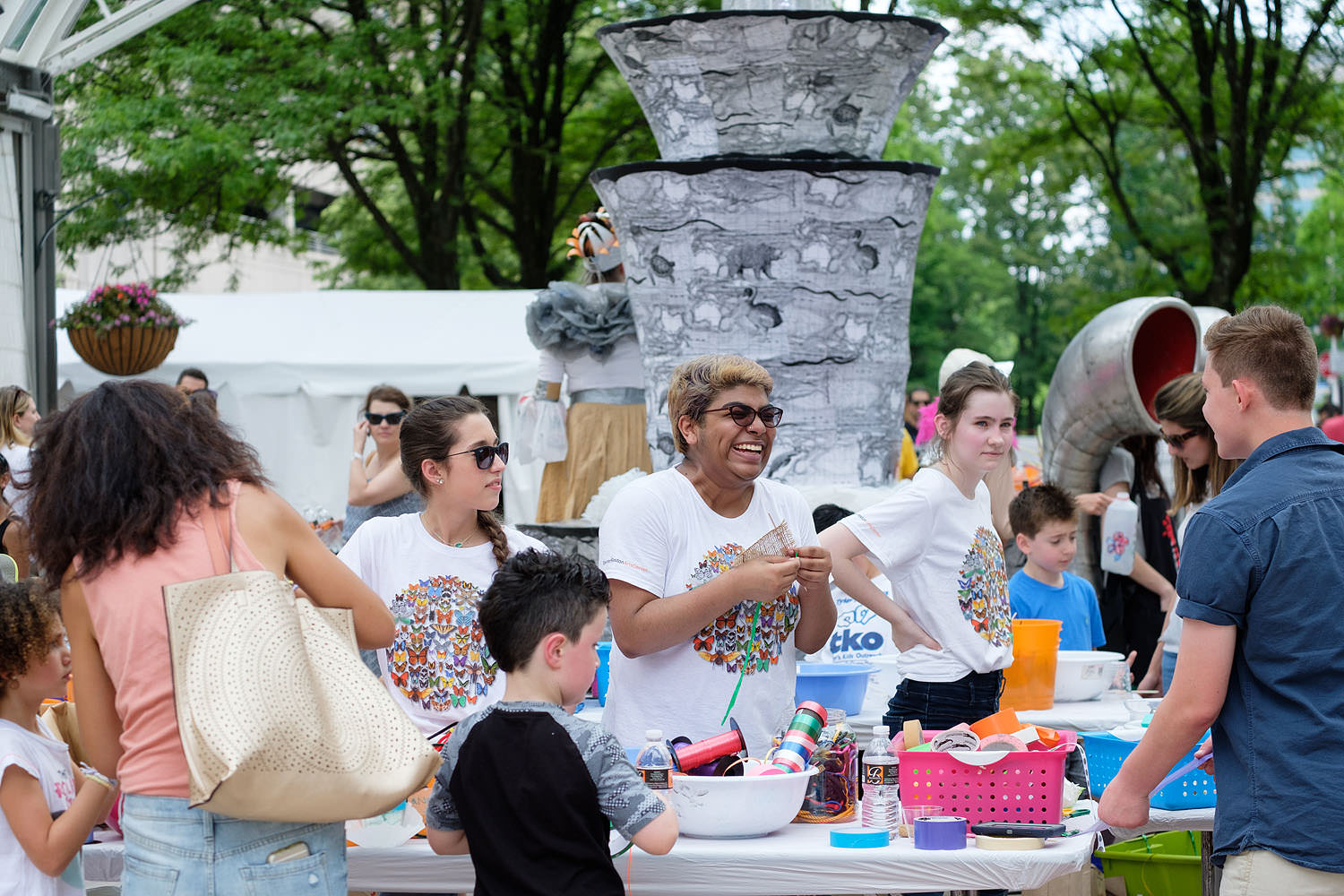 Kids' activities and volunteers at the Northern Virginia Fine Arts Festival