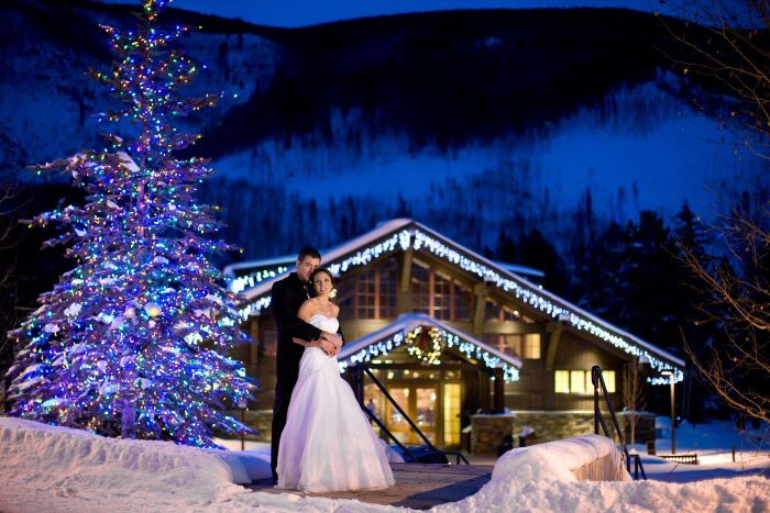 Winter wedding at Donovan Pavilion in Vail, Colorado
