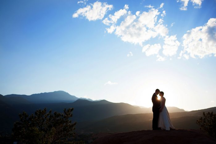 Garden of the Gods wedding with Pikes Peak in Colorado Springs