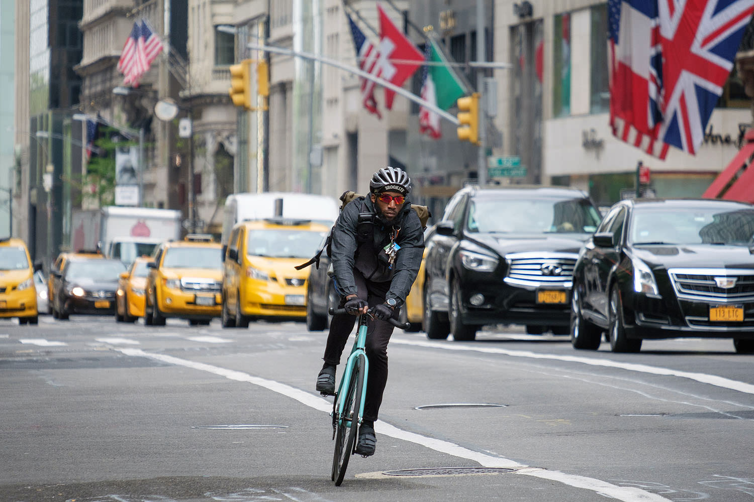 Bicyclist on Fifth Avenue