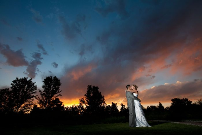 Bride and groom at sunset at a Littleton wedding in Colorado
