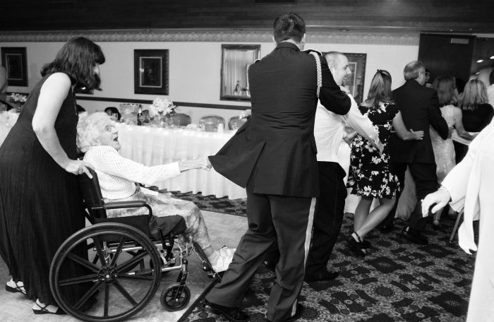Wheelchair conga line at a wedding