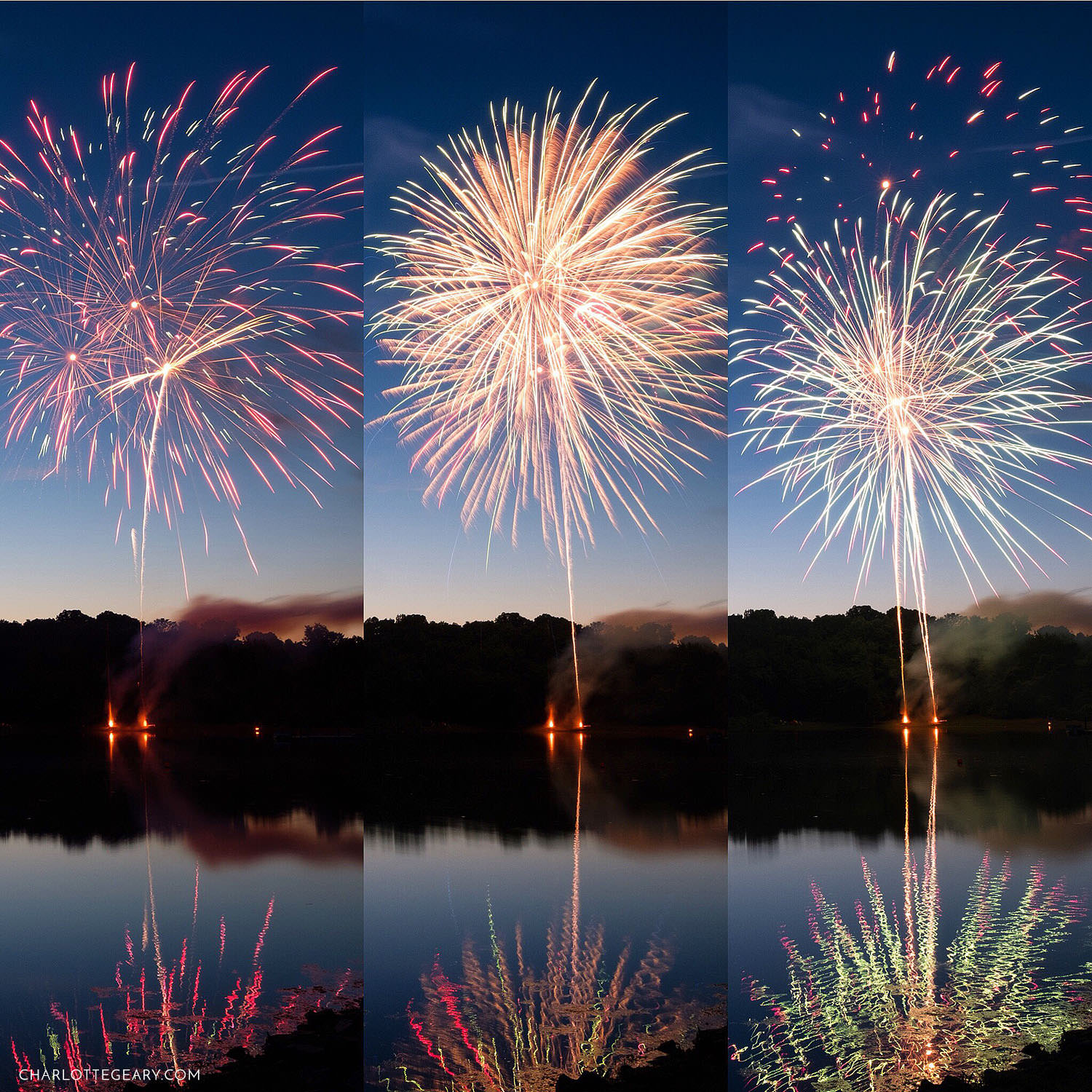 Fireworks at Lake Fairfax in Reston, Virginia
