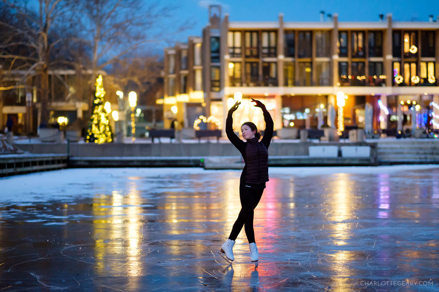Figuring skating on Lake Anne