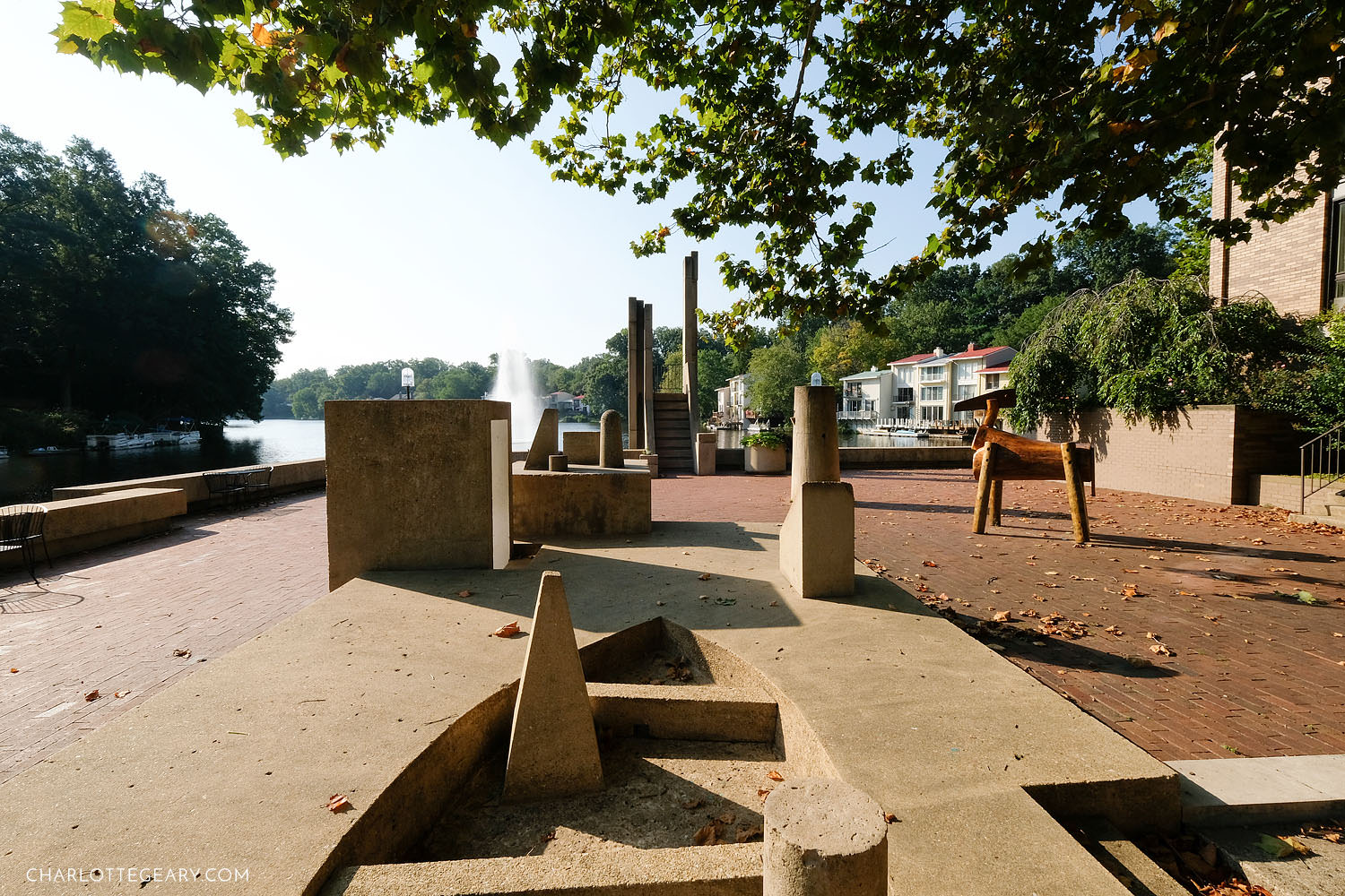 The Sun Boat and Wooden Horse at Lake Anne Plaza