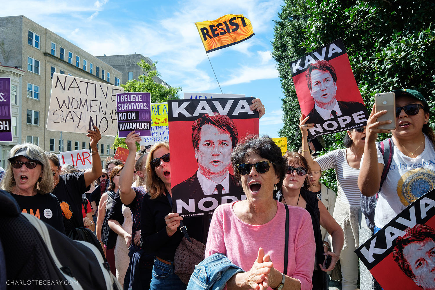 Protestors outside the Senate Office Building before the confirmation of Kavanaugh to Supreme Court (Washington, D.C.)