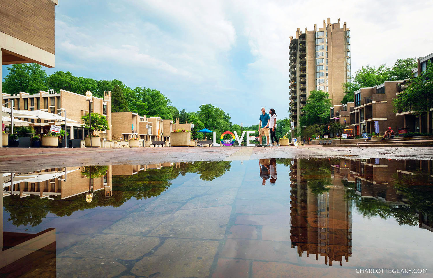 Lake Anne Plaza after a rainstorm (Reston, Virginia)