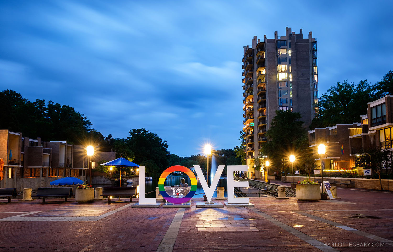The Virginia is for Lovers sign at Lake Anne Plaza (Reston, Virginia)