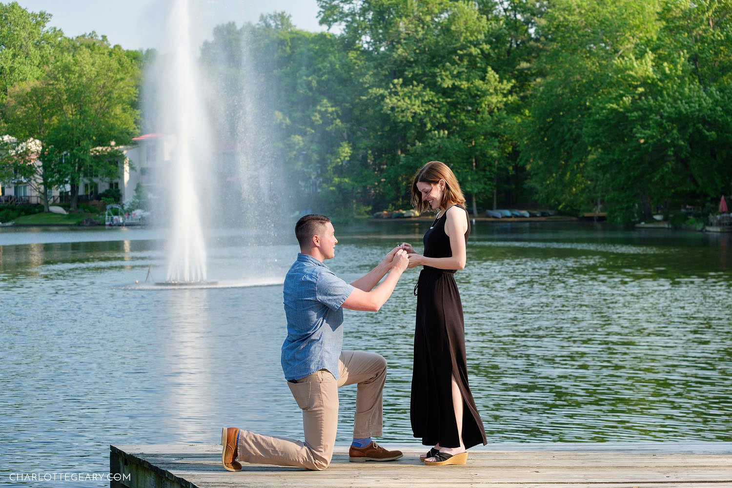 A wedding proposal at Lake Anne (Reston, Virginia)