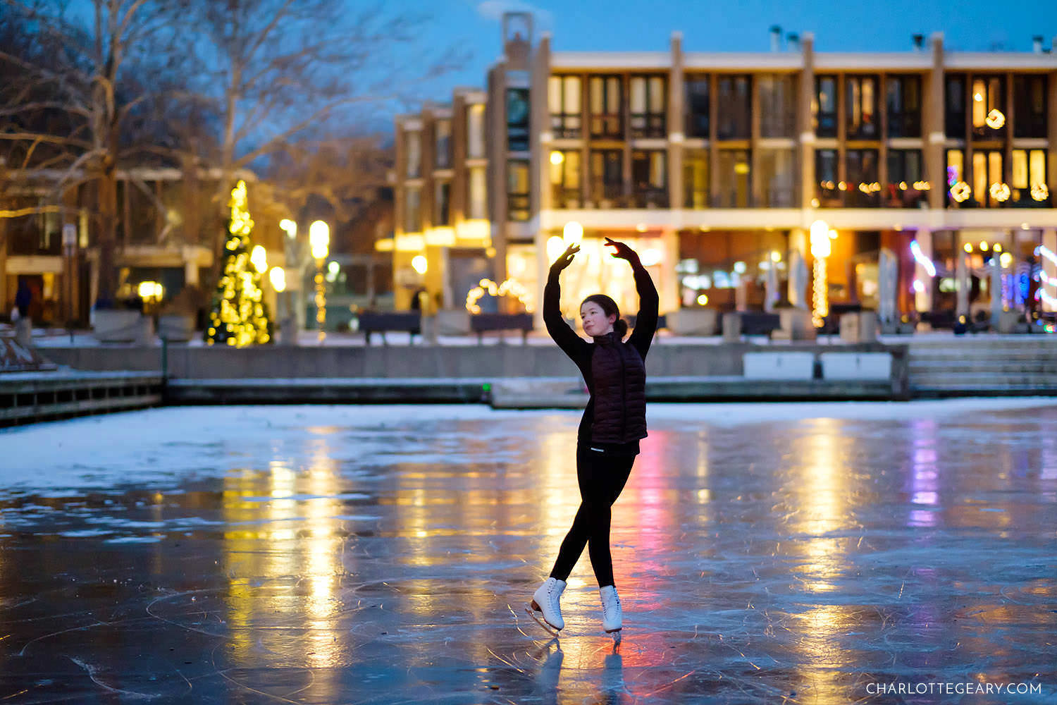 figure skater on frozen Lake Anne (Reston, Virginia)