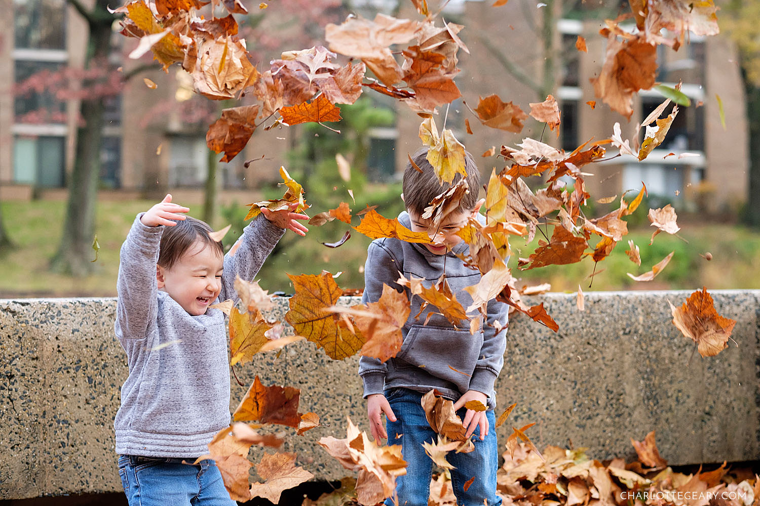 Kids playing in leaves at Lake Anne in Reston