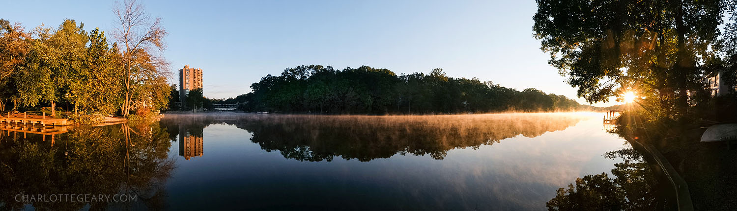 Panoramic of sunrise at Lake Anne in Reston, Virginia